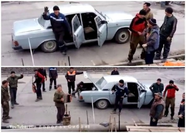 戰鬥民族能屈能伸 小汽車塞17個大男人
